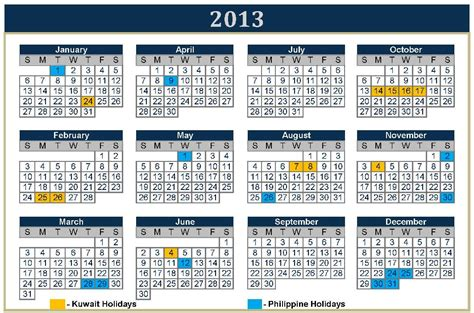 2013 Calendar With Holidays The Viewing Deck Ofw Vacation 2013 Kuwait And