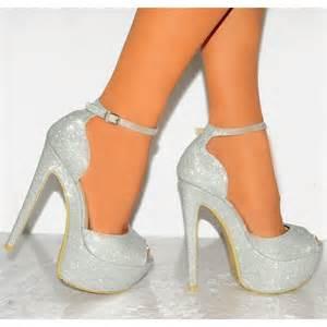 silver shimmer peep toe ankle stiletto