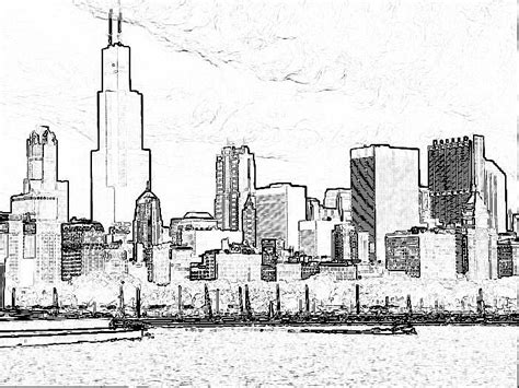 Chicago Skyline Coloring Page how to draw chicago skyline