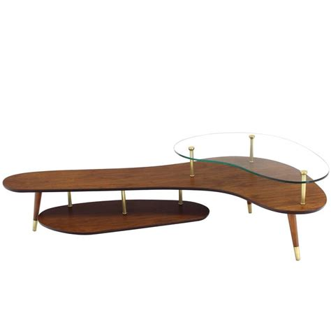 Boomerang Coffee Table Boomerang Shape Coffee Table With Glass Top At 1stdibs