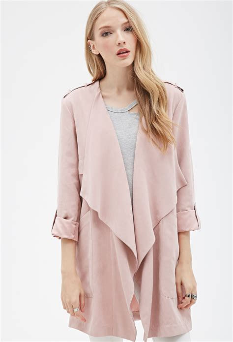 Fashion Find Front Drape Jacket by Forever 21 Faux Suede Draped Front Jacket In Pink Lyst