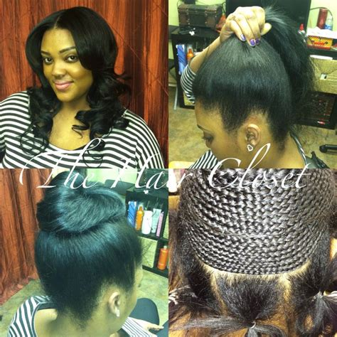 partial sew in hairstyles for synthetic hair ponytail sew in the hair closet pinterest natural