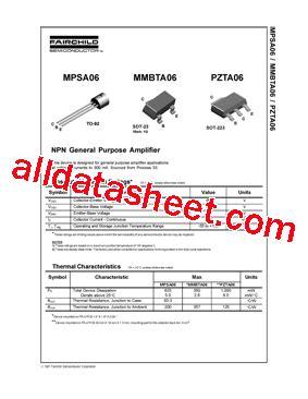 transistor mpsa06 datasheet mpsa06 01 datasheet pdf fairchild semiconductor