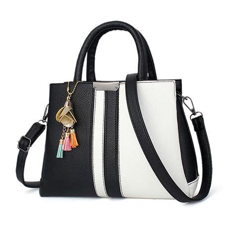 7886 Black White Tote Bag brand new handbag black and white stripe tote bag