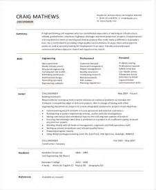 Sle Resume For Civil Engineer Fresher sle resume format for civil engineer fresher 28 images