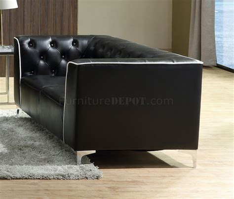 black sofa white piping bisby sofa in black leather gel w white piping options