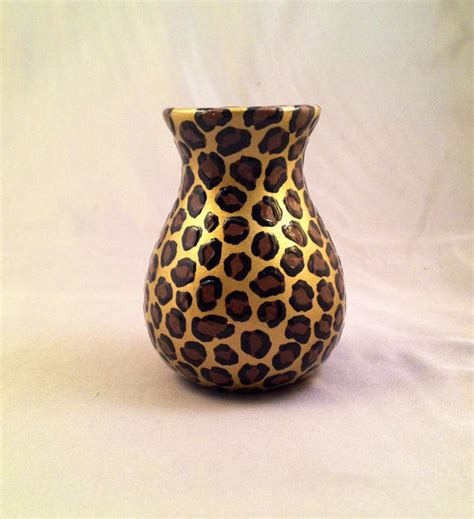 Leopard Print Vase items similar to bud vase leopard print with gold
