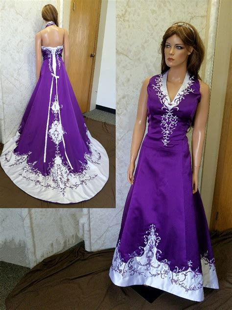 White Purple Dress wedding dresses trimmed in purple cheap wedding dresses