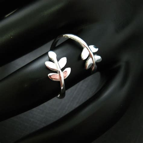 925 sterling silver leaf ring leaves branch ring tree