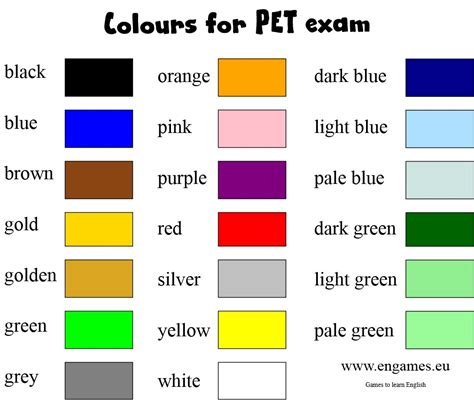 colors name list in urdu and english with pictures english class