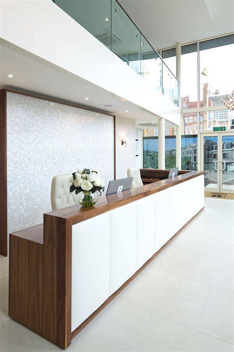 Upholstered Reception Desk Reception Desk In Walnut With White Leather Upholstered Panels Gerard Lewis Designs