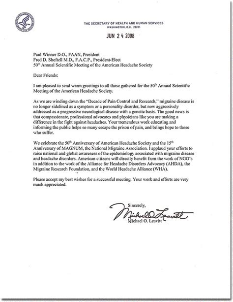 Reference Letter Nih Magnum The National Migraine Association Messages Letters Of Support