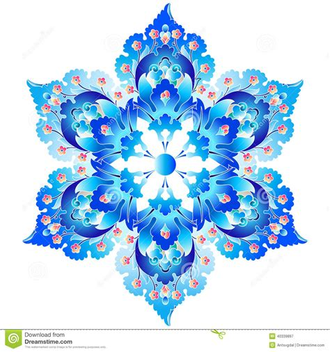 decorative art flowers ottoman art flowers four stock vector image 40339897