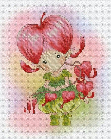 sprite bloemen cross stitch chart pattern flower sprites by