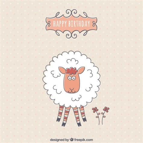 Sheep Birthday Card Birthday Card With A Cute Sheep Vector Free Download