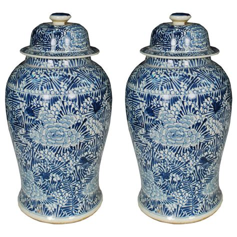 what are ginger jars pair of chinese blue and white floral ginger jars at 1stdibs