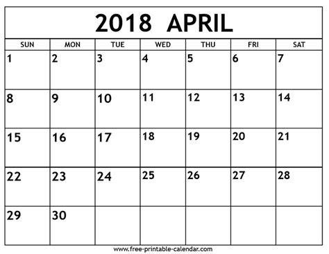 printable april 2018 calendar pdf free download