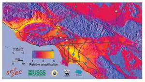 southern california earthquake map map showing how level of shaking is likely to vary across