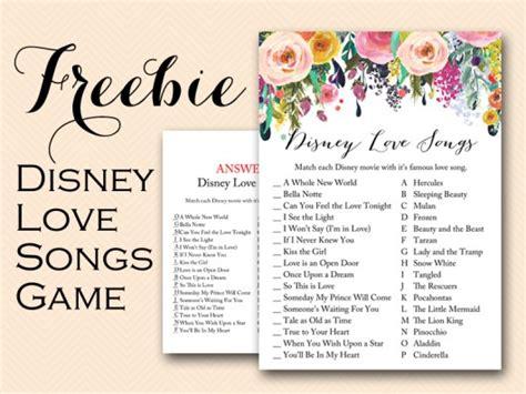 free disney love song bridal shower game bridal shower