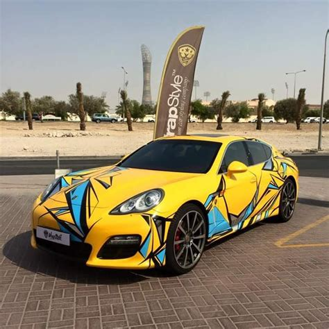 yellow porsche panamera porsche panamera special design car wrap design