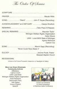Church Order Of Service Program Template by Memorials Voice Of Detroit The City S Independent