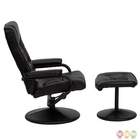 pedestal recliner and ottoman contemporary black leather recliner and ottoman with