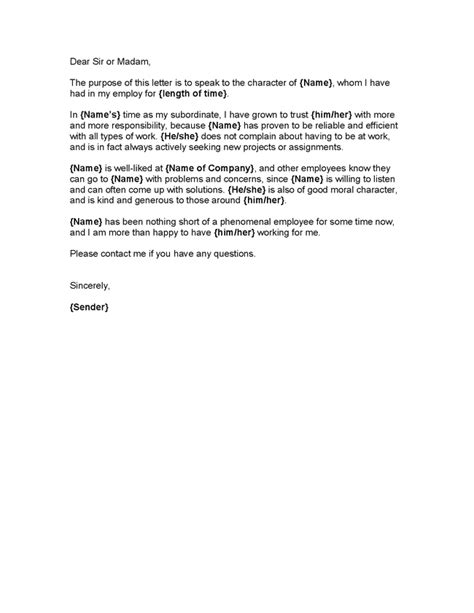 Character Letter Employer sle reference letter from employer for apartment