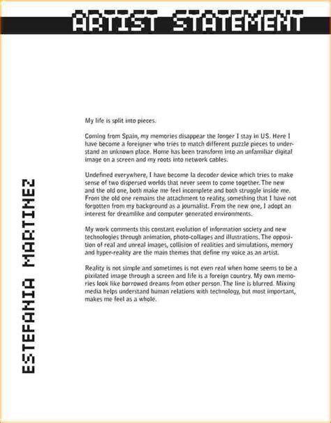 layout of an artist statement artist statements exles artists statement 1 jpg