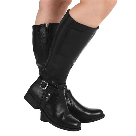 womens leather motorcycle riding boots womens mid calf leather look fashion riding boots flats