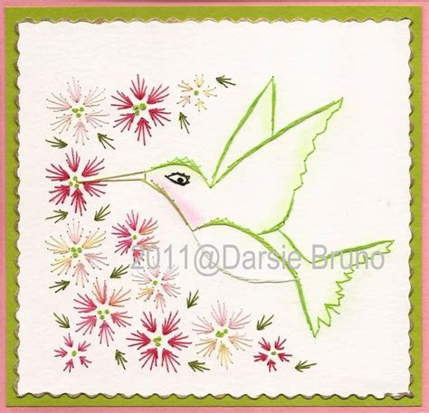 pattern paper greeting card pretty hummingbird floral paper embroidery pattern for