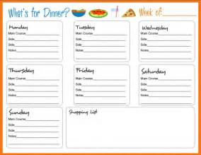 weekly food menu template meal planning templates on meal planner