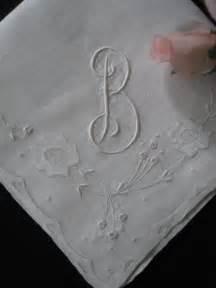 b linens vintage embroidered linen hankie b monogram wh077