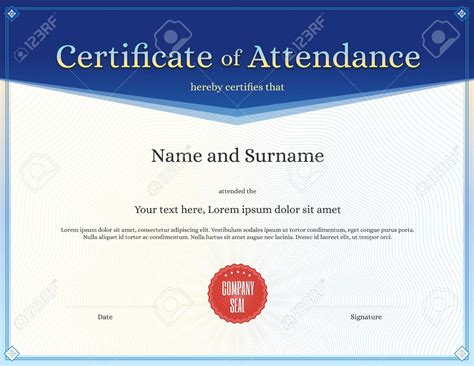 certificate of attendance template doc gallery
