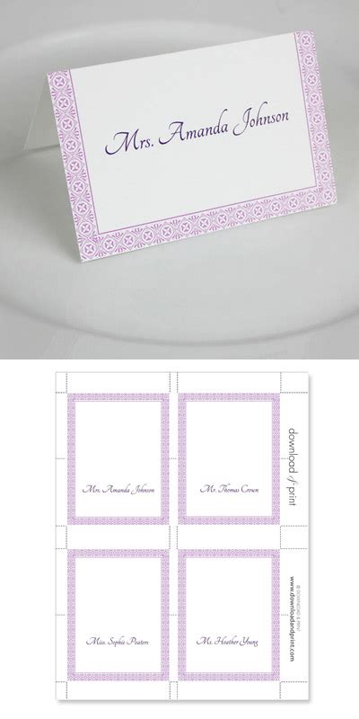 Microsoft Place Card Template by Microsoft Word Wedding Place Card Templates Print