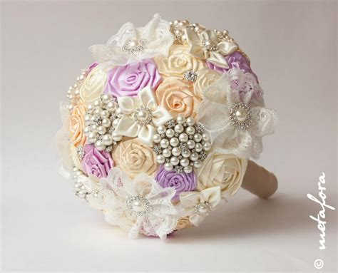Bouquets For Sale by Sale Brooch Bouquet Lilac Ivory Fabric Wedding Bouquet