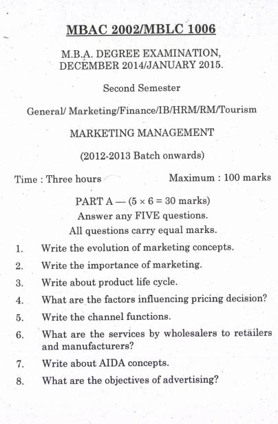Pondicherry Mba Question Papers by Marketing Management Pondicherry Mba 2014 2015