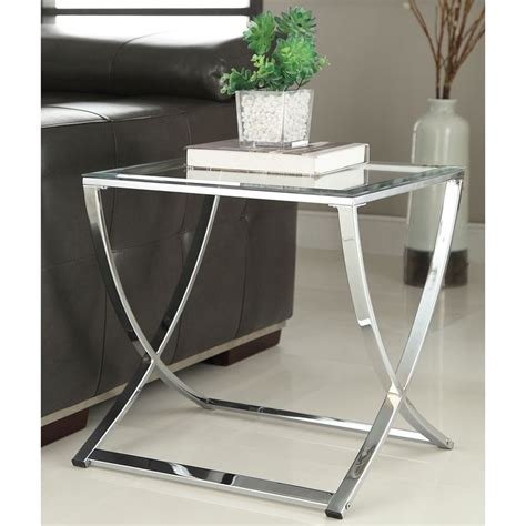 Glass And Chrome Side Table Contemporary Chrome Finish Glass Side End Table