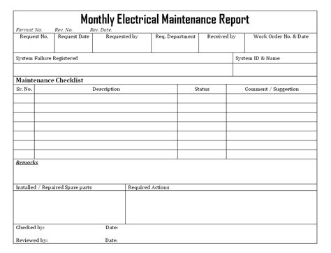 Monthly Electrical Maintenance Report Electrical Maintenance Checklist Template