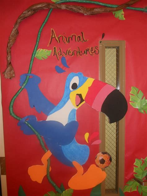 sports themed door decorations the theme this month was both animals and sports so this