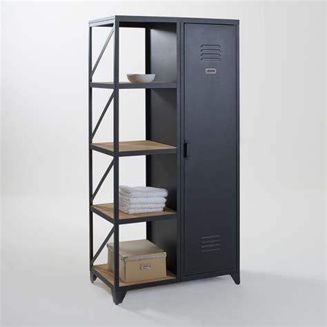 Armoire étagère 1 porte métal et pin huilé Hiba noir La Redoute Interieurs Ventes pas cher.com