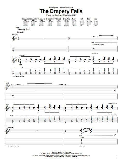 the drapery falls opeth the drapery falls by opeth guitar tab guitar instructor