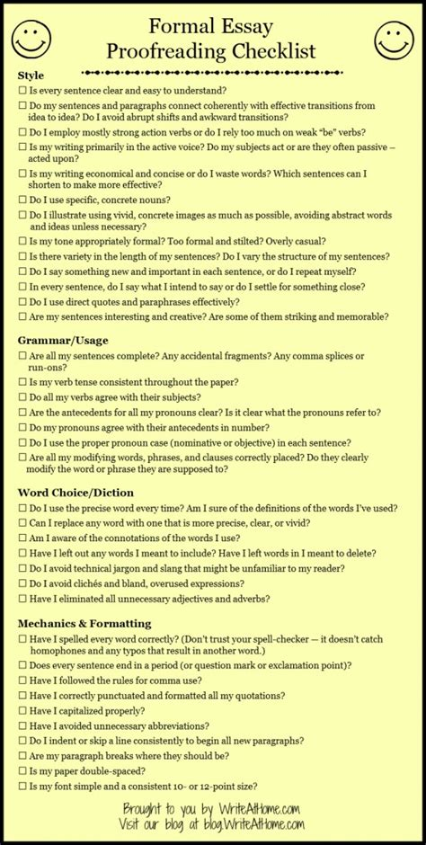 Simple Essay For by Proofreading Checklist For The Basic Essay