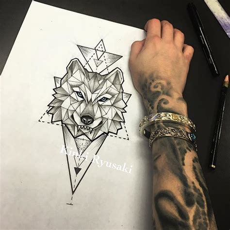 geometric wolf tattoo geometric wolf design