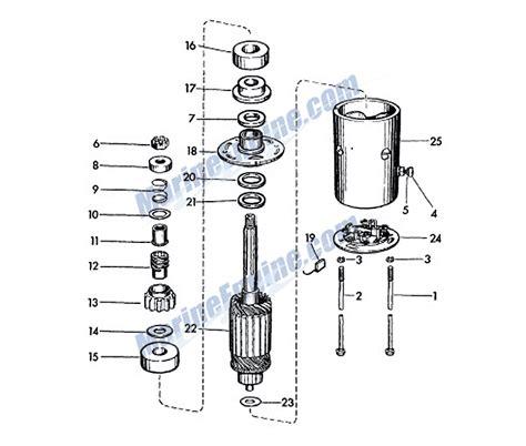 starter motor parts diagram evinrude starter motor parts for 1959 35hp 35516 outboard