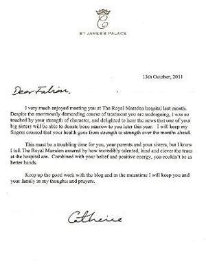 Patient Katherine S Letter kate middleton sends letter to cancer patient fabian bate
