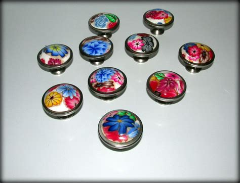 multi colored drawer pulls cabinet drawer knobs pulls polymer clay multi color floral