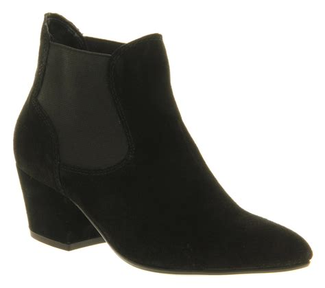 womens office understated chelsea black suede boots size