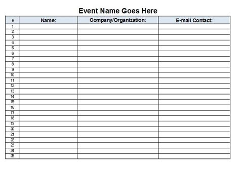 Sign In Sheet Template by The Admin December 2012