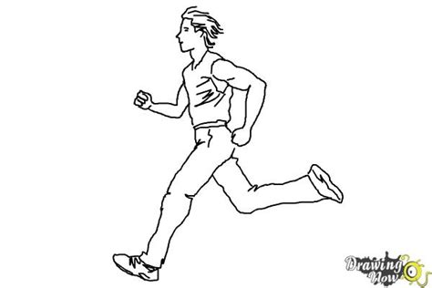 coloring pages of a person running how to draw a running person drawingnow