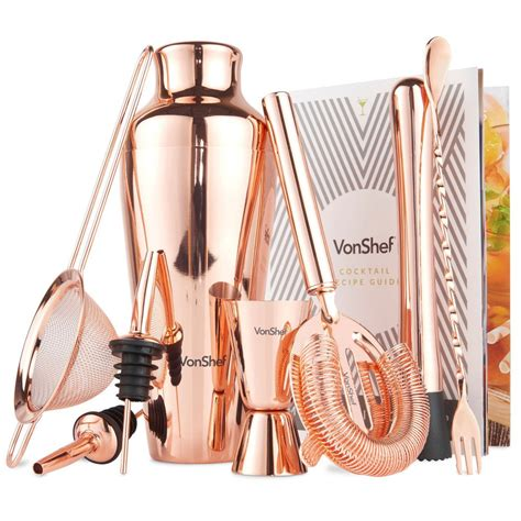 cocktail set vonshef 9 piece copper parisian cocktail set and